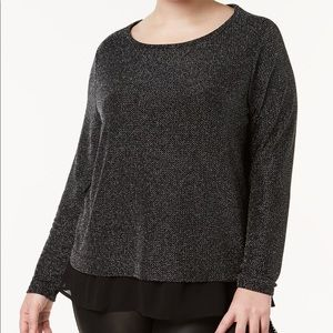 Metallic Chiffon-Trimmed Top